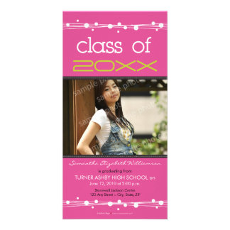 Dots & Straw Graduation Photo Announcement: pink Photo Card Template