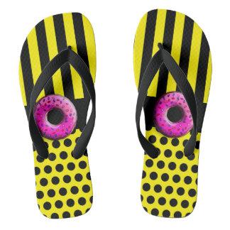 Dots & Stripes Black & Donut + your backgr. Flip Flops
