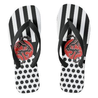 Dots & Stripes Black & Dragon + your backgr. Flip Flops