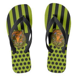 Dots & Stripes Black & Tiger + your backgr. Flip Flops