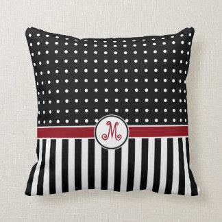 Dots Stripes Flourish Monogram Black Red Pillow