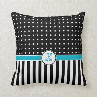 Dots Stripes Flourish Monogram Black Turquoise Pillow