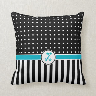 Dots Stripes Flourish Monogram Black Turquoise Throw Pillow