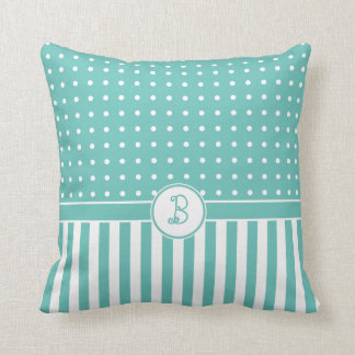 Dots Stripes Flourish Monogram Teal Green White Throw Pillow
