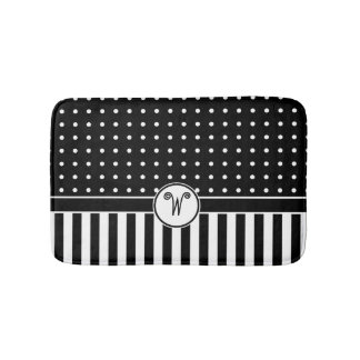 Dots Stripes Monogram Black White Bath Bath Mat