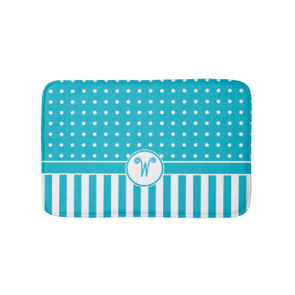 Dots Stripes Monogram Turquoise Bath Bathroom Mat