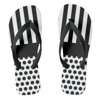 Dots & Stripes Pattern Black + your backgr. & idea Flip Flops