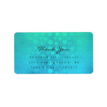 Beach Themed Dots Thank You Ombre Ocean Blue Beach Wedding Label