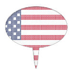 Dotted american flag oval cake pick