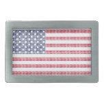 Dotted american flag rectangular belt buckles