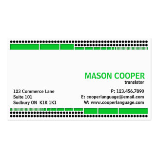 Dotted And Dashed - Green Business Card Templates