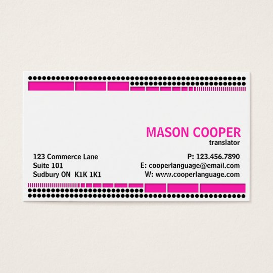 Dotted And Dashed - Pink Business Card