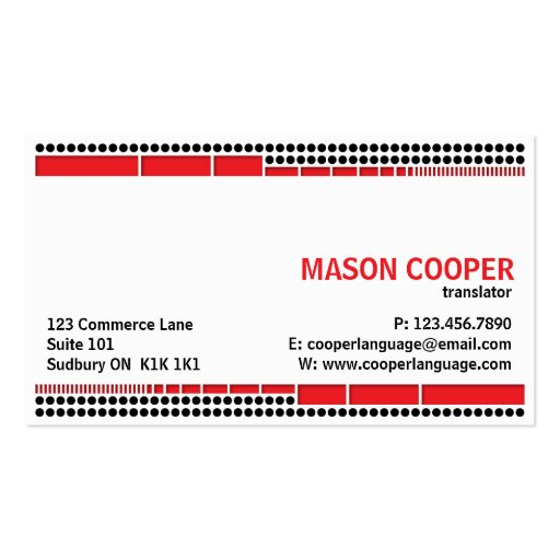 Dotted And Dashed - Red Business Card