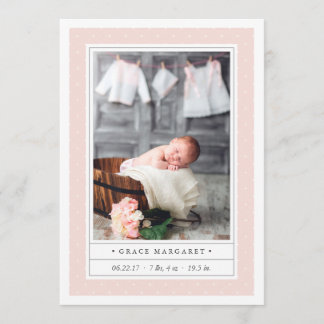 Dotted Blush | Double Sided Birth Announcement