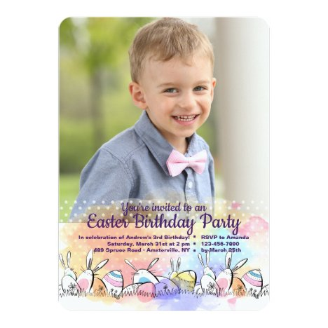 Dotted Easter Photo Invitation