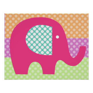 Dotted Elephant Nursery Poster