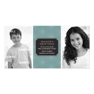 Dotted Floral Frame Photo Card