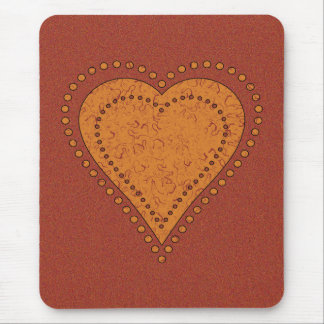 DOTTED GOLDEN HEART MOUSE PAD
