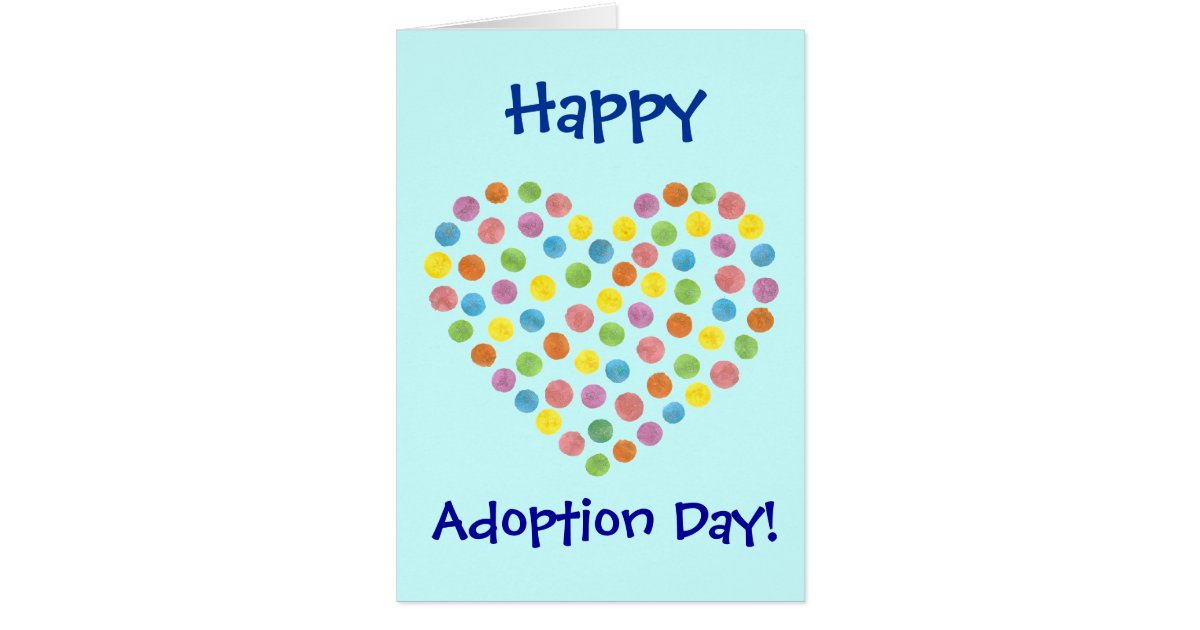 dotted heart happy adoption day card