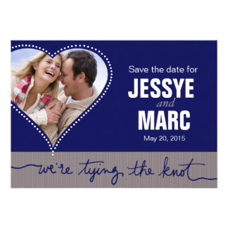 Dotted Heart Photo Save the Date navy gray Invites