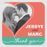 Dotted Heart Photo Thank You coral jade Square Sticker