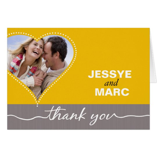 Dotted Heart Photo Thank You yellow gray Card