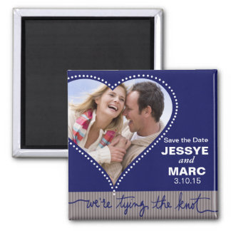Dotted Heart Save the Date navy gray Magnet
