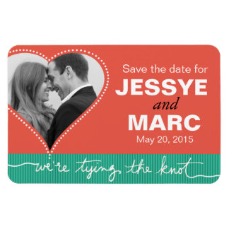 Dotted Heart Save the Date Photo coral jade Magnet