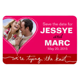 Dotted Heart Save the Date Photo fuschia red Flexible Magnets