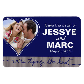 Dotted Heart Save the Date Photo navy gray Magnet
