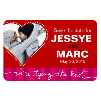 Dotted Heart Save the Date Photo red fuschia Flexible Magnet