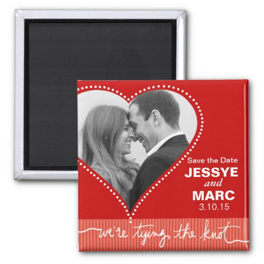 Dotted Heart Save the Date red coral Magnet