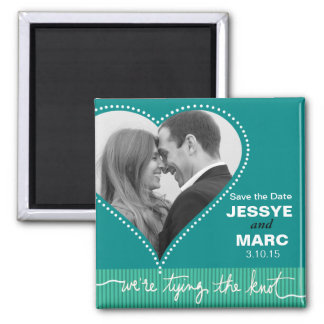 Dotted Heart Save the Date turquoise Magnet