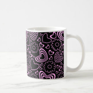 Dotted Hearts and cute flowers in pink and black Classic White Coffee Mug