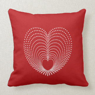 Dotted Hearts on Red Throw Pillow