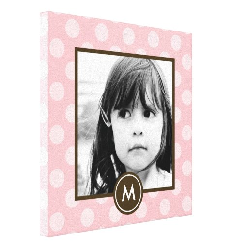 Dotted Initial Canvas Art - Pink Stretched Canvas Prints