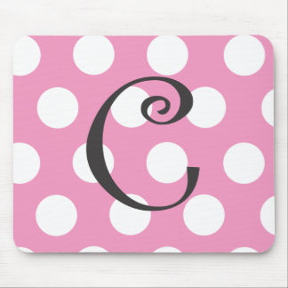 "Dotted Light Pink Mousepad Initial ""C"""