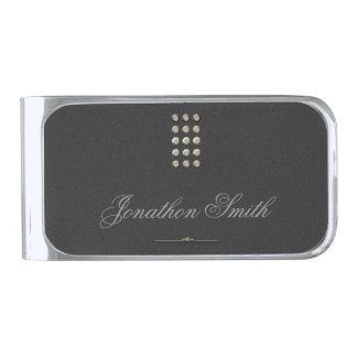 Dotted Line Charcoal Silver Finish Money Clip