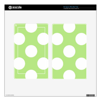 Dotted Pattern, Polka Dots, Spots - Green White Decals For Kindle Fire
