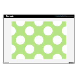 "Dotted Pattern, Polka Dots, Spots - Green White Skins For 13"" Laptops"