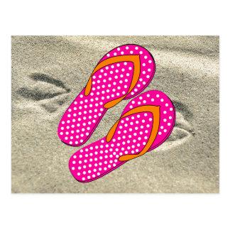 Dotted Pink Flip Flops Postcard