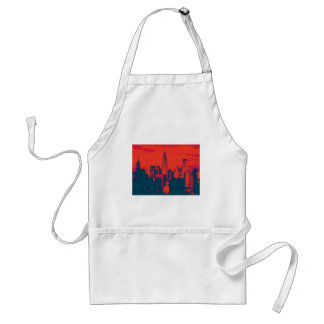 Dotted Red Retro Style Pop Art New York City Adult Apron