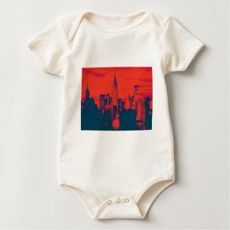 Dotted Red Retro Style Pop Art New York City Baby Bodysuit