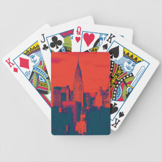 Dotted Red Retro Style Pop Art New York City Bicycle Playing Cards