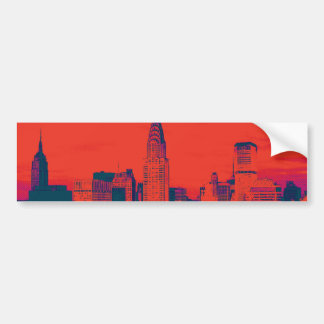 Dotted Red Retro Style Pop Art New York City Bumper Sticker