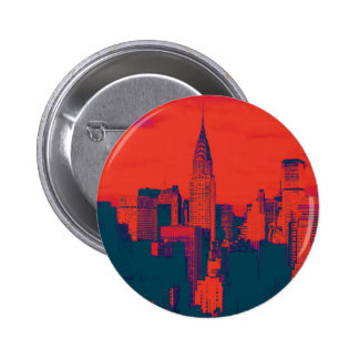 Dotted Red Retro Style Pop Art New York City Button