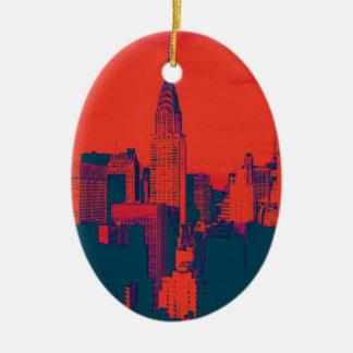 Dotted Red Retro Style Pop Art New York City Ceramic Ornament