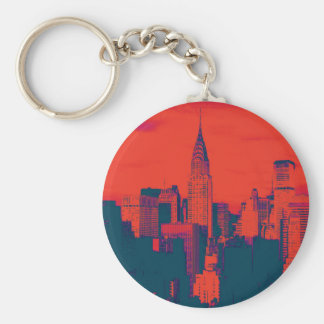 Dotted Red Retro Style Pop Art New York City Keychain