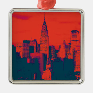 Dotted Red Retro Style Pop Art New York City Metal Ornament
