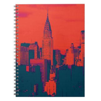 Dotted Red Retro Style Pop Art New York City Spiral Notebook